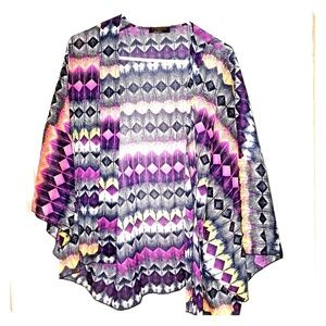 Renee C Jennifer Abstract Chevron Print Kimono
